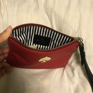 Kate Spade red leather wristlet (unused)